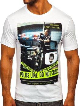 Мужская футболка с принтом белая Bolf 6298