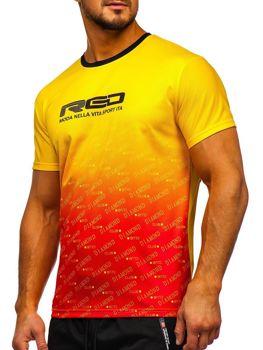 Мужская футболка с принтом желтая Bolf KS2064