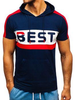 Мужская футболка с принтом и капюшоном темно-синяя Bolf 5798