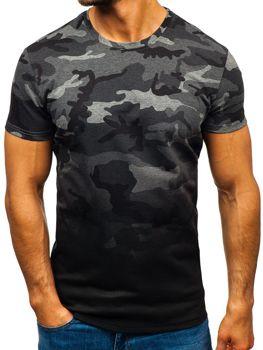 Мужская футболка с принтом камуфляж-графитовая Bolf S808
