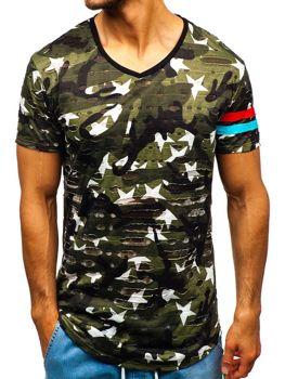 Мужская футболка с принтом камуфляж-зеленая Bolf 309