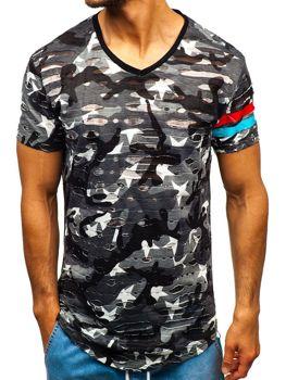 Мужская футболка с принтом камуфляж-серая Bolf 309