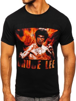 Мужская футболка с принтом черная Bolf 001