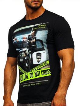 Мужская футболка с принтом черная Bolf 6298