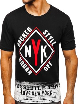 Мужская футболка с принтом черная Bolf 6305