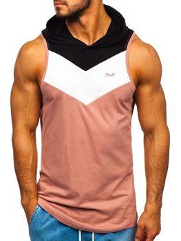Мужская футболка танк топ с капюшоном розовая Bolf 1282