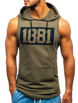 Мужская футболка танк топ  с принтом и капюшоном хаки Bolf 1281