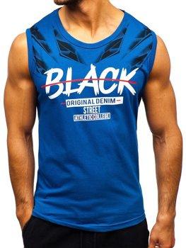 Мужская футболка tank top с принтом синяя Bolf 14271