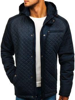 Мужская элегантная демисезонная куртка темно-синяя Bolf 1648