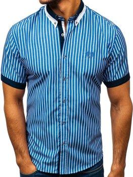 Мужская элегантная рубашка в клетку с коротким рукавом синяя Bolf 4501