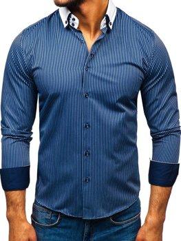 Мужская элегантная рубашка в полоску с длинным рукавом темно-синяя Bolf 0909-A