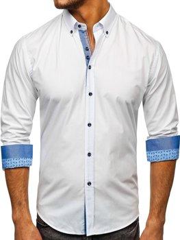 Мужская элегантная рубашка с длинным рукавом белая Bolf 8838