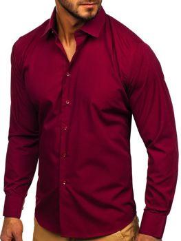 Мужская элегантная рубашка с длинным рукавом бордовая Bolf 0001