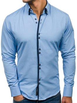Мужская элегантная рубашка с длинным рукавом голубая Bolf 1721-A