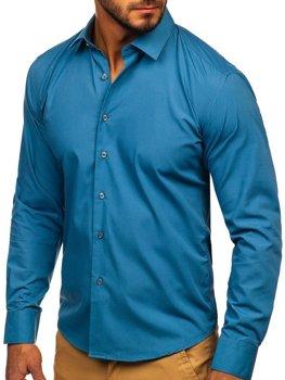 Мужская элегантная рубашка с длинным рукавом графитовая Bolf 0001