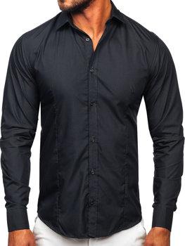 Мужская элегантная рубашка с длинным рукавом графитовая Bolf 1703