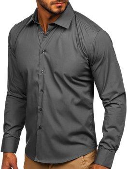Мужская элегантная рубашка с длинным рукавом коричневая Bolf 0001