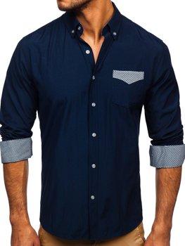 Мужская элегантная рубашка с длинным рукавом темно-синяя Bolf 4711