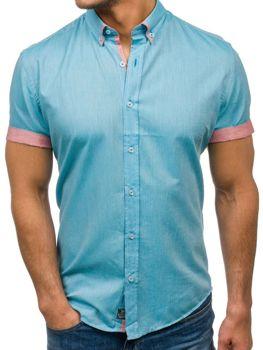Мужская элегантная рубашка с коротким рукавом бирюзовая Bolf 5200