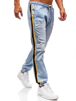 Мужские джинсовые брюки багги светло-синие Bolf 2041