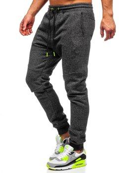 Мужские спортивные брюки антрацитово-салатовые Bolf Q3778