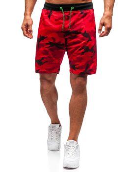 Мужские трикотажные шорты камуфляж-красный Bolf NP25