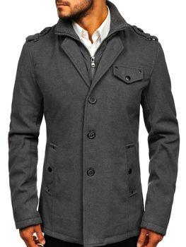 Мужское  пальто серое Bolf 8853