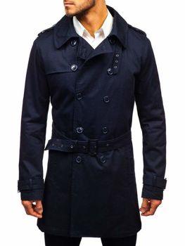 Мужское пальто-тренч темно-синее Bolf 5710