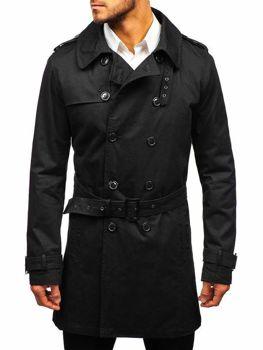 Мужское пальто-тренч черное Bolf 5710