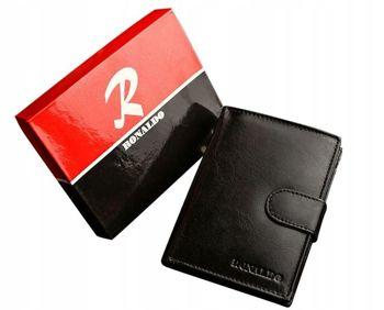 Мужской кожаный кошелек черный 605