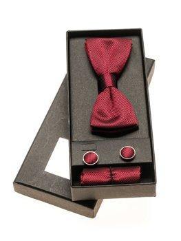 Мужской набор бабочка, запонки, платок паше бордовый Bolf MSP01