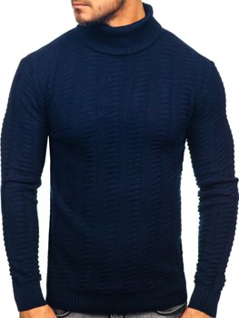 Мужской свитер гольф темно-синий Bolf 314