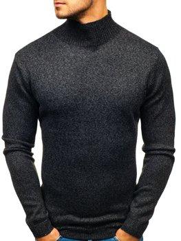Мужской свитер гольф черный Bolf H1801