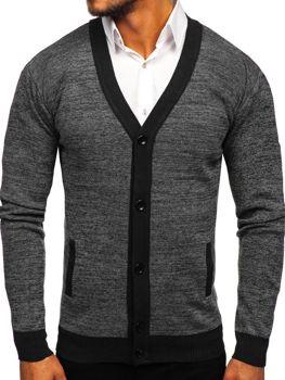 Мужской свитер на застежке черный Bolf 8122