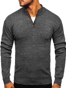 Мужской свитер на застежке черный Bolf 8260