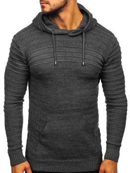 Мужской свитер с капюшоном графитовый Bolf 7003