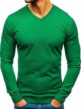 Мужской свитер с v-образным вырезом зеленый Bolf 2200