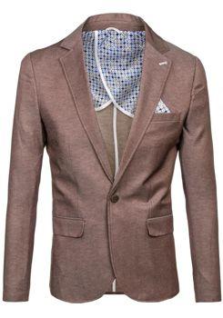 Мужской casual пиджак коричневая Bolf 074