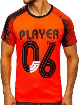 Оранжевая мужская футболка с принтом Bolf KS2065