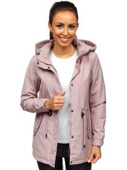 Розовая женская демисезонная куртка парка Bolf 6364