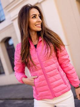 Розовая стеганая женская куртка с капюшоном Bolf 20313