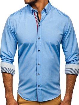 Рубашка мужская с узором и длинным рукавом синяя Bolf 8843