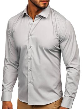 Рубашка мужская элегантная с длинным рукавом светло-серая Bolf 0001