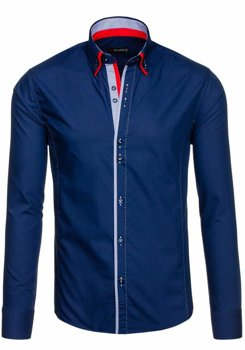 Рубашка мужская BY MIRZAD 6859 темно-синяя