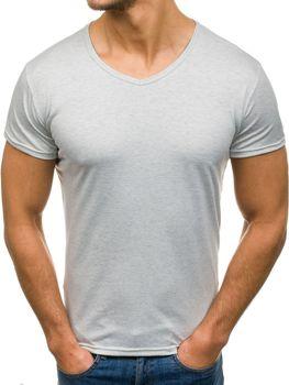 Серая мужская футболка без принта с v-образным вырезом Bolf 2007