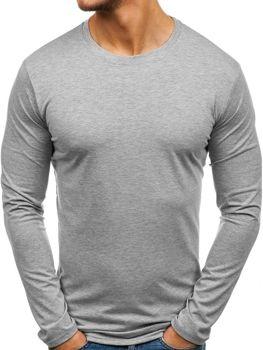 Серая мужская футболка с длинным рукавом без принта Bolf 135
