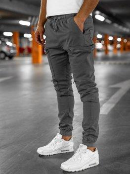 Серые мужские  брюки джоггеры-карго Bolf 0475