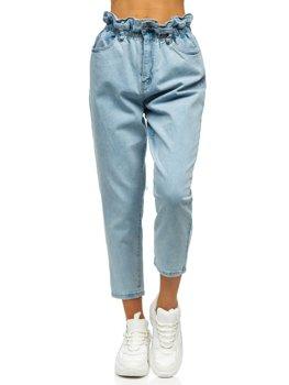 Синие женские джинсы mom fit Bolf WL1758