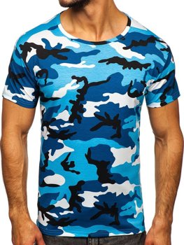 Синяя мужская камуфляжная футболка Bolf S807