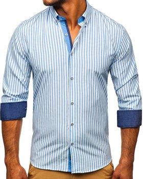 Синяя мужская рубашка в полоску с длинным рукавом Bolf 20704